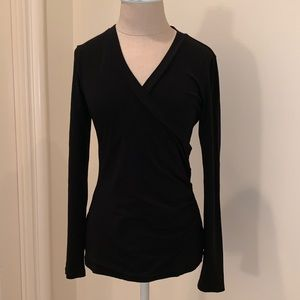 CABI black knit wrap top